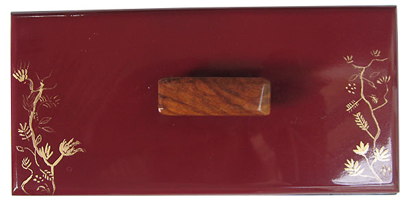Handmade handpainted cranberry color box top with original art in gold color