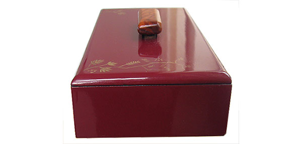 Cranberry color handpainted wood box side