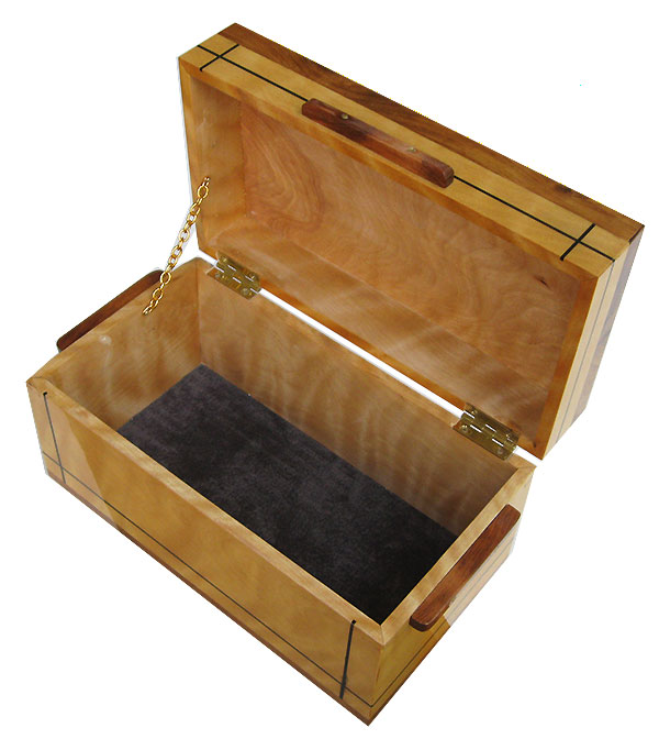 Handcrafted wood box - Decorative tall keepsake box made of flame birch with ebony inlay and Honduras rosewood trim - open view