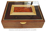 Handcrafted wood large box - Decorative wood keepsake box made of claro walnut, boise de rose, Ceylon satinwood, amboyna burl, ebony