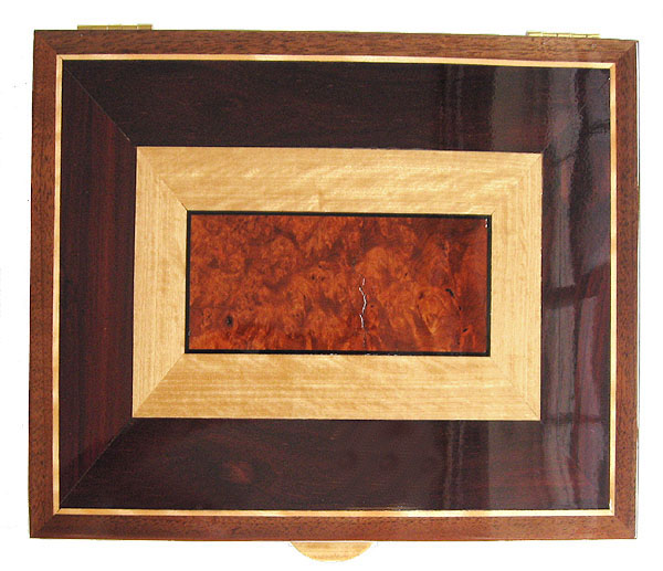 Handcrafted wood large keepsake box top - Anmboyna burl, Ceylon satinwood, bois de rose, ebony