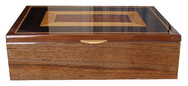 Handcrafted wood large keepsake box - Claro walnut front view