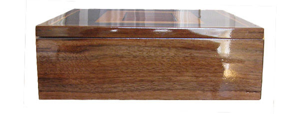 Handcrafted wood large keepsake box - Claro walnut box side view