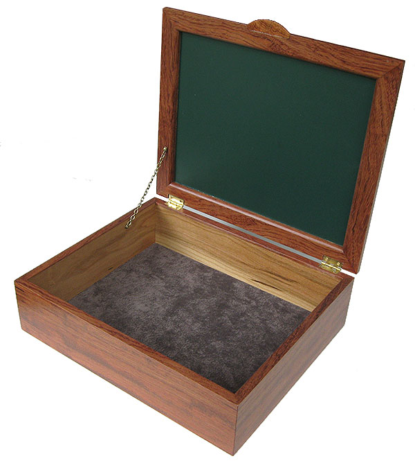 Handcrafted large wood box - Large decorative wood keepsake box - open view
