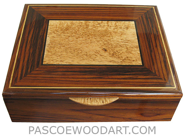 Handcrafted wood box - Large decorative wood keepsake box made of Indian rosewood, masur birch, ebony, satinwood