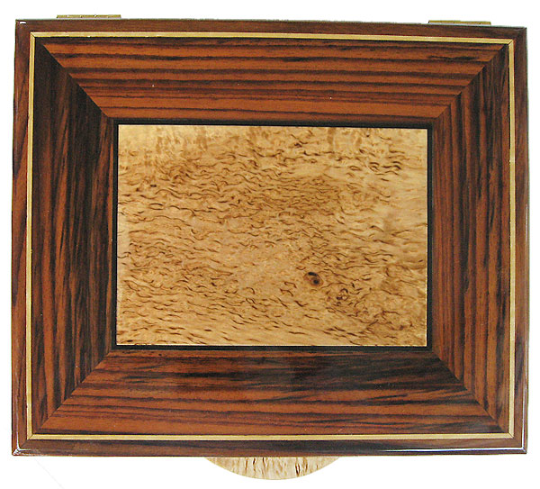 Masur birch framed with rosewood boxtop - Handcrafted large decorative wood keepsake box