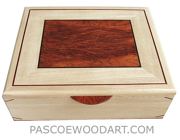 Handcrafted large wood box - Decorative wood large keepsake box made of bleached ash with bloodwood burl inlaid top