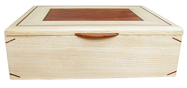 Quarter-sawn bleached ash box front - Handcrafted decorative large wood keepsake box