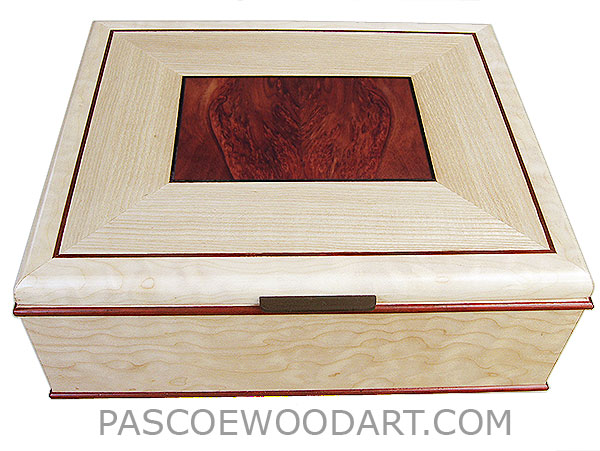 Handcrafted large wood box - Decorative wood keepsake box made of bleached quilted western maple, bloodwood burl, quarter-sawn bleached ash, ebony