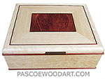 Handcrafted large wood box, decorative wood large keepsake box - Bleached quilted western maple, bloodwood burl, quarter-sawn bleached ash, ebony