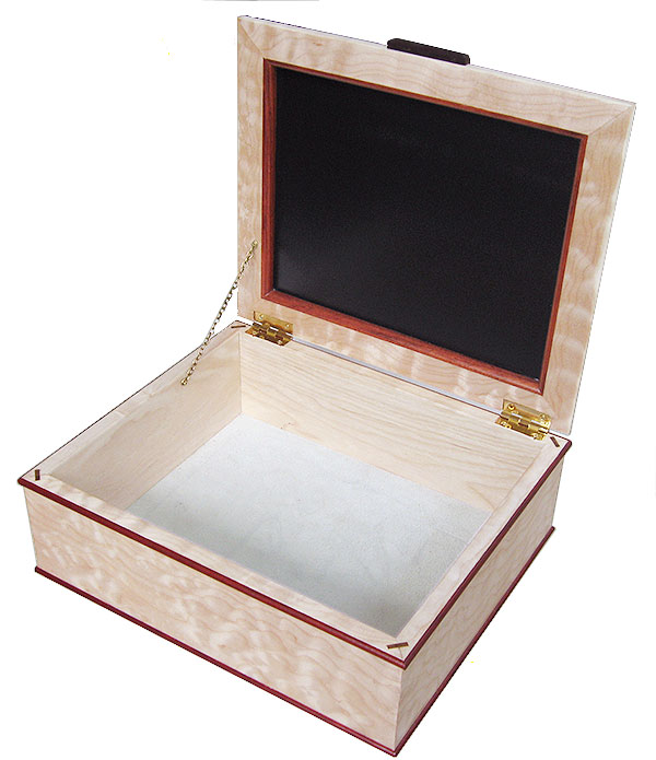 Handcrafted large wood box open view - Decorative large wood keepsake box