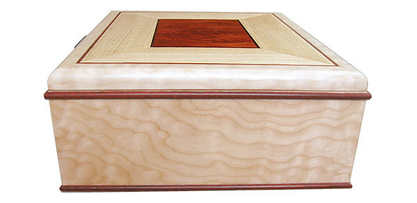 Bleached quilted western maple box end - Handmade decorative large wood keepsake box