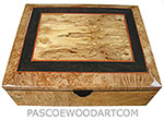 Handmade large wood box - Decorative large wood keepsake box or document box made of maple burl with spalted maple framed in African blackwood and maple burl bevel top