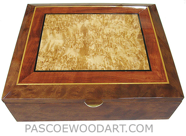 Handcrafted large wood box - Decorative wood large keepsake box or document box made of camphor burl with masur birch center framed in figured bubinga, camphor burl with ebony and Ceylon satinwood striping