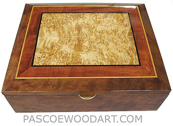 Handcrafted large wood box - Decorative large keepsake box made of camphor burl with masur birch center framed in figured bubina, camphor burl with ebony, Ceylon satinwood striping