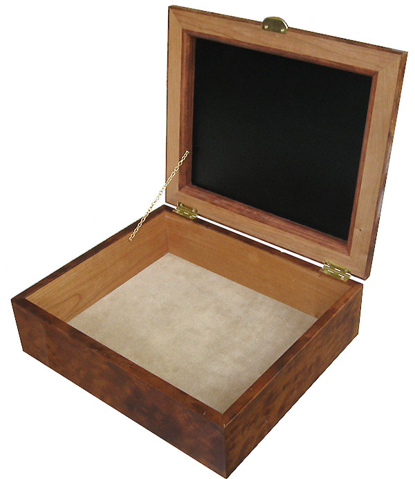 Handcrafted large wood box - Decorative wood large keepsake box - open view