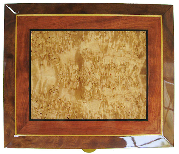 Masur birch center framed in fitured bubinga and camphor burl with ebony, Ceylon satinwood striping - Handcrafted decorative large keepsake box