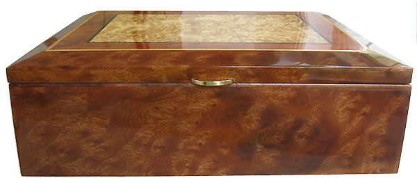 Camphor burl box front - Handcrafted decorative large wood keepsake box