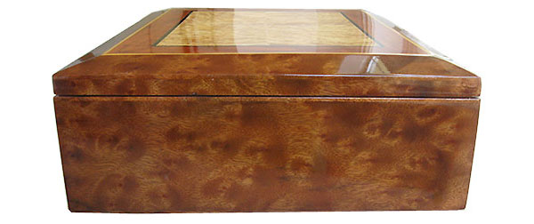 Camphor burl box end - Handcrafted decorative large wood box