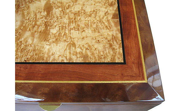 Box top close-up - Handcrafted decorative large keepsake box - Masur birch center framed in figured bubinga and camphor burl with ebony, Ceylon satinwood striping