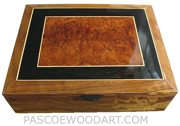 Handmade large wood box - Decorative wood keepsake box, document box made of shedua veneer laminated over mahogany with mosaic of African blackwood, redwood burl and holley mosaic bevel top