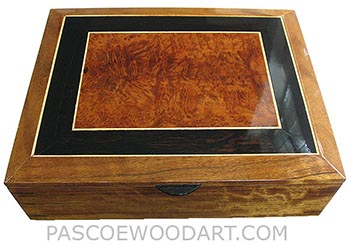 Handmade large wood box - Decorative wood keepsake box, document box made of shedua, African blackwood, redwood burl
