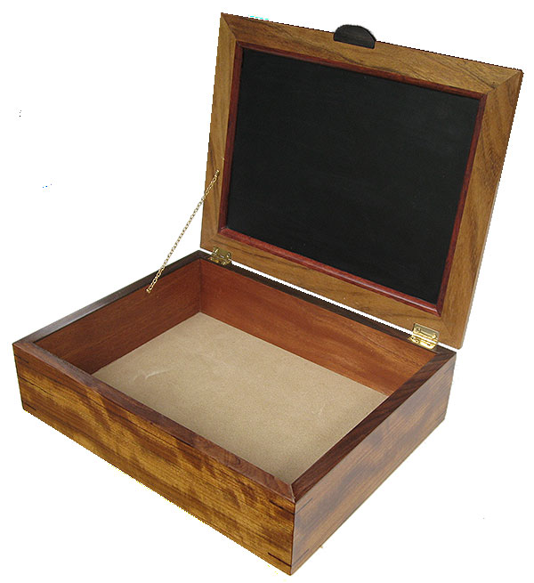 Handcrafted large wood box - Decorative wood keepsake box, document box open view