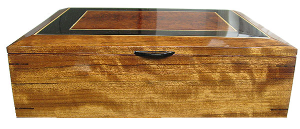 Shedua box front - Handmade large wood box, keepsake box, document box