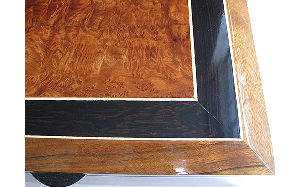 Beveled box top close up - African blackwood, redwood burl, holley