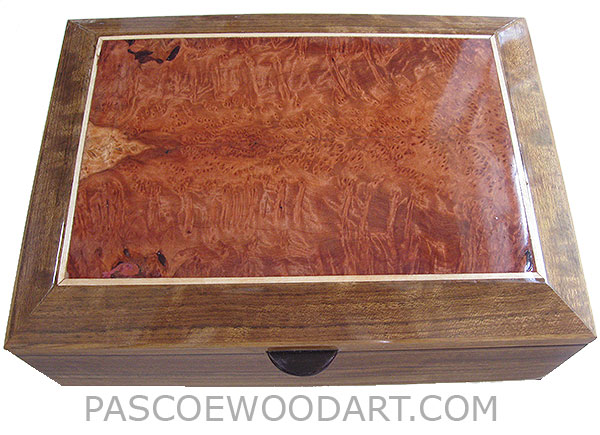 Handcrafted large wood box-Decorative large wood keepsake box made of shedua with redwood burl bevel top