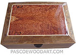Handmade large wood box - Decorative wood large keepsake box made of shedua with redwood burl bevel top