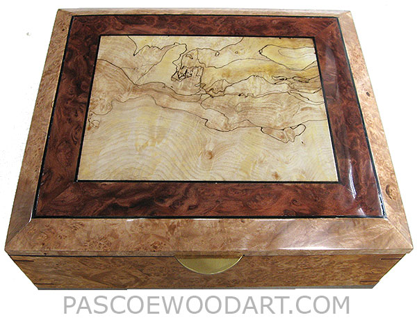 Handcrafted large wood box - Large decorative wood keepsake box or document dox made of maple burl with black line spalted maple burl framed in redwood burl and maple burl with ebony stringing