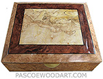 Handcrafted large wood box - Large decorative keepsake box or document box made of maple burl with blackline spalted maple burl framed in redwood burl and maple burl with ebony stringing top