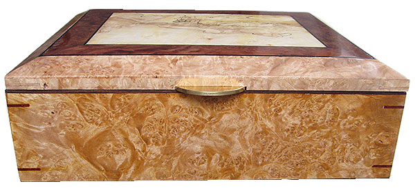 Maple burl box front - Handmade large decorative wood keepsake box or document box