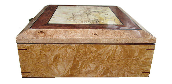 Maple burl box end - Handcrafted large wood box - Decorative large wood keepsake box