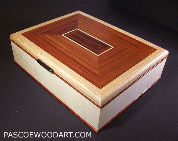 Handcrafted wood box - large keepsake box made from bleached ash, east Indian rosewood