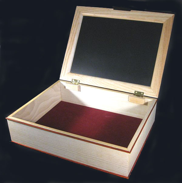 Handcrafted wood box - large keepsake box made from bleached ash, east Indian rosewood - open view