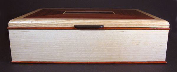 Handcrafted wood box - large keepsake box made from bleached ash, east Indian rosewood - front view