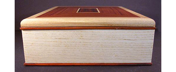 Handcrafted wood box - large keepsake box made from bleached ash, east Indian rosewood - side view