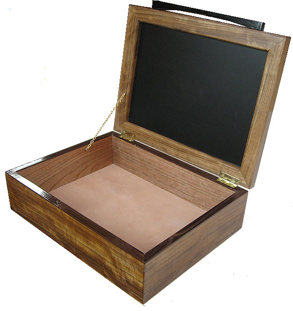 Handmade large wood box open view