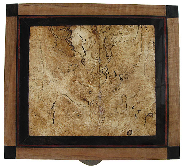 Blackline spalted maple centerpiece framed in African blackwood large box top - Handcrafted large decorative keepsake box