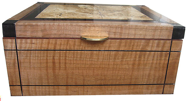 Curly cherry box front - Handcrafted decorative large wood keepsake box
