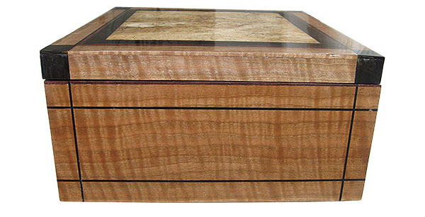 Curly cherry box end - Handcrafted large wood keepsake box