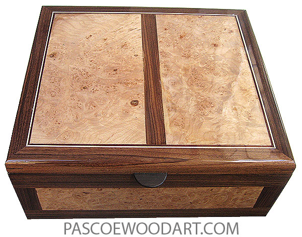Handcrafted large wood box - Decorative large wood keepsake box or document box made of Brazilian rosewood with maple burl top and sides inlays