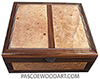 Handrafted large wood box - Decorative wood large keepsake box or document box made of Santos rosewood, maple burl