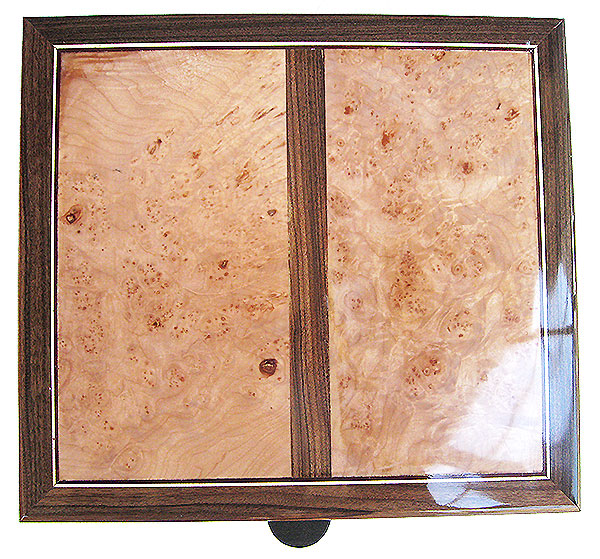 Maple burl framed in Brazilian rosewood box top - Handcrafted large wood box - Decorative large wood keepsake box or document box made of Brazilian rosewood with maple burl top and sides inlays