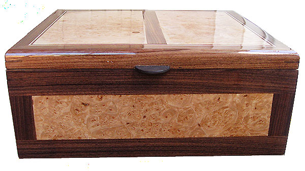 Maple burl inlaied box front - Handmade large wood keepsake box