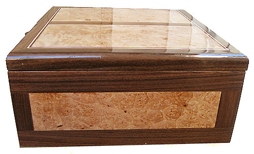 Maple burl inlaid box side - Handcrafted large wood keepsake box