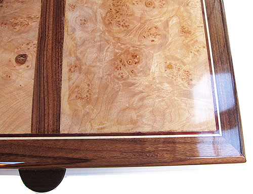 Maple burl framed in Brazilain rosewood box top - Handcrafted decorative large wood keepsake box or document box