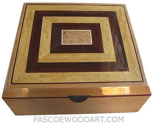 Handcrafted large wood box - Decorative wood large keepsake box or document box made of European alderwith Ceylon satinwood, snakewood framed top